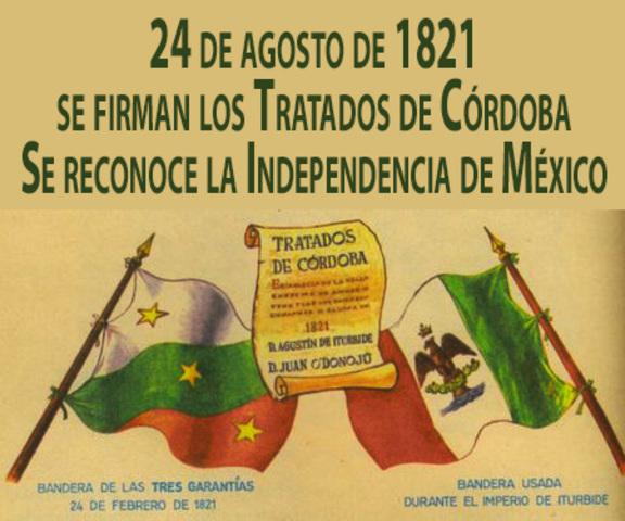 Firma de los tratados de Córdoba  entre Juan O'donojú y Agustín de Iturbide