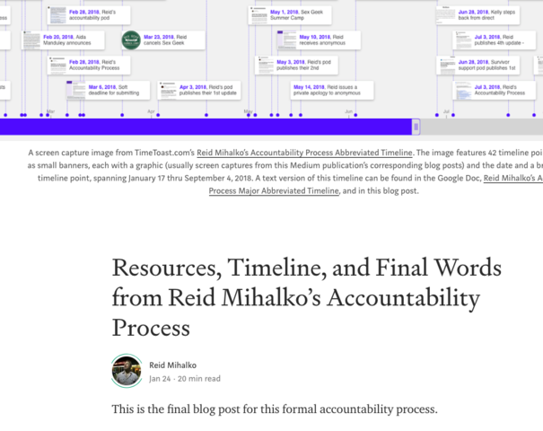 Reid Publishes Final Accountability Update - Resources, Timeline, and Final Words from Reid Mihalko's Accountability Process
