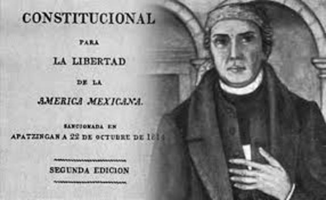 Se promulga en Apatzingán el decreto constitucional para la libertad de la América mexicana.