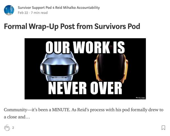 Survivor Support Pod posts Formal Wrap-Up Post from Survivors Pod on Medium
