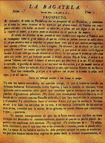 Primera Publicacion de La Bagatela, Periodico Politico