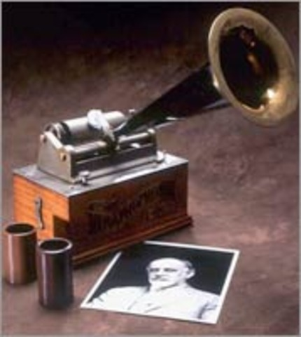 """Edison invents the cylinder """"phonograph"""" used to record and playback sound"""