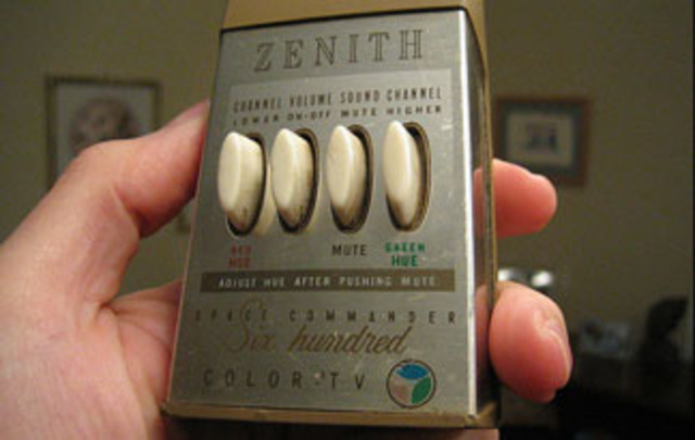 """Zenith introduces the """"Lazy Boy"""" -- the first television remote control (it had a cable.)"""