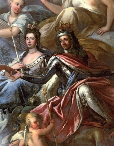 William and Mary got the throne after kicking James II during the Glorious Revolution