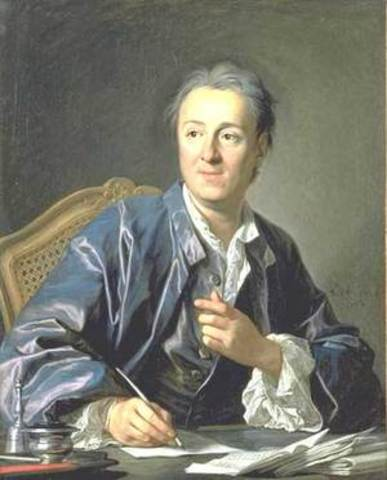 The First volume of Encyclopedia is published by Diderot