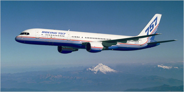 The 757 makes its maiden flight