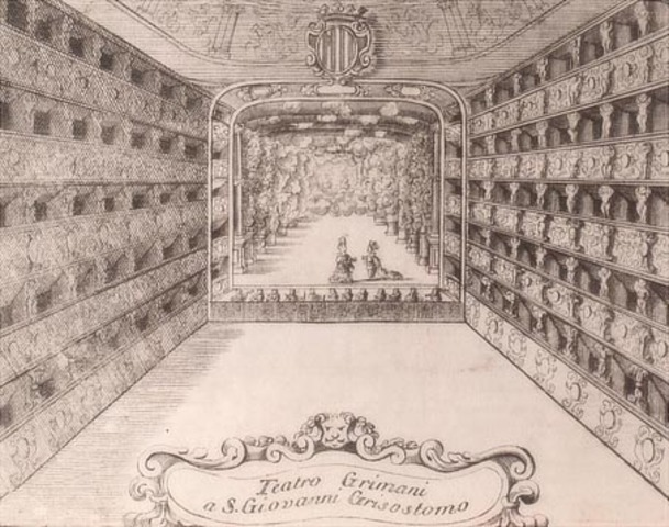 """First public opera house called """"Teatro San Cassiano"""" openned in Venice"""
