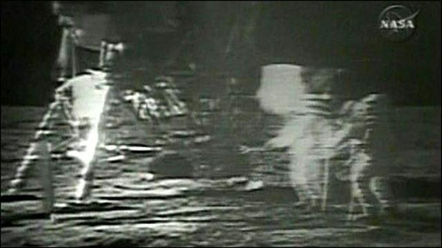 U.S. Moon Landing Shown on T.V.