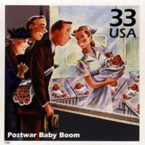 Postwar Baby Boom begins as birthrate rises dramatically