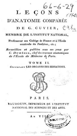 Cuvier: Leçons d'anatomie comparée,