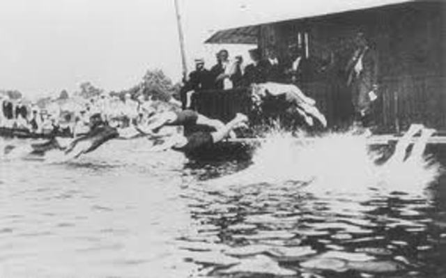 Competitive Swimming Starts in Europe, 1800's