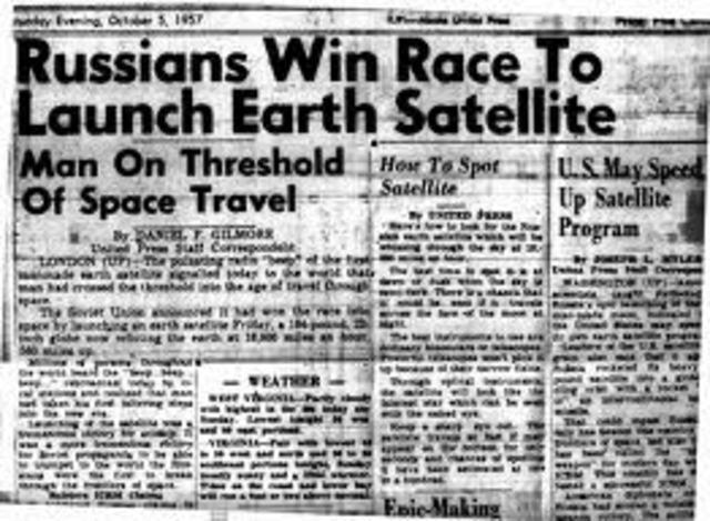 Soviets launch Sputnik 1