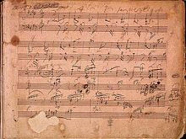 Manuscrit de la Sonata para piano Op. 106, «Hammerklavier».