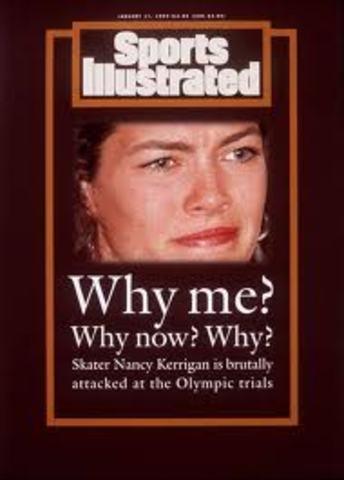Nancy Kerrigan is clubbed in the Knee