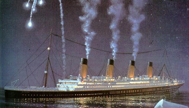 The Titanic sinks