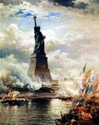 Statue of Liberty is erected