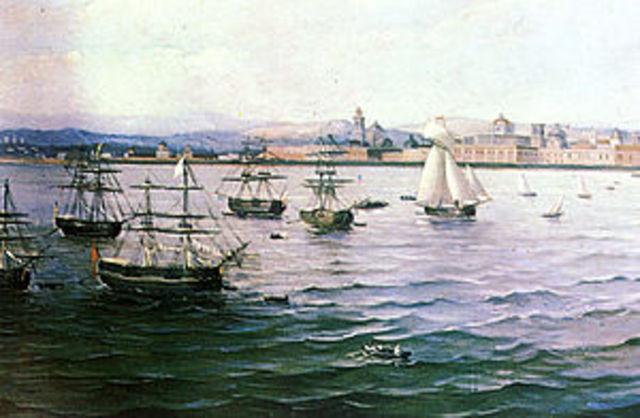 La toma de San Juan de Ulúa derrotando a los españoles.