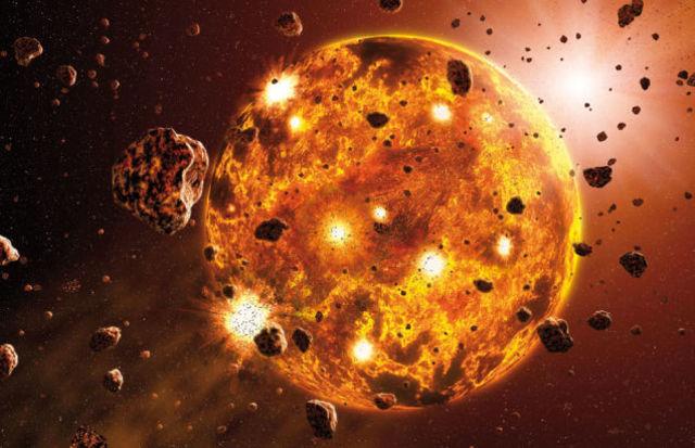 Formación de la Tierra por la colisión de cuerpos planetesimales pequeños y grandes.