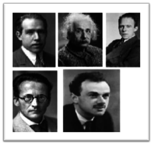 Físisca cuántica : Bohr, Einstein, Heisenberg, De Broglie, Schrodinger y Dirac.