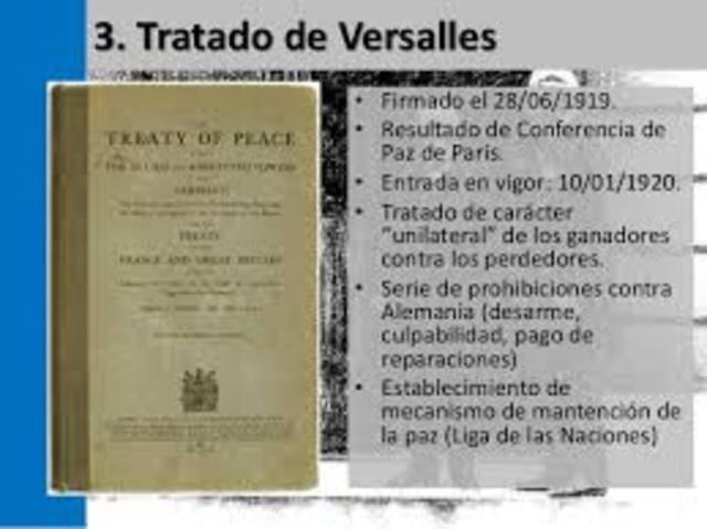 Tratado de Versalles,Primera Guerra Mundial.