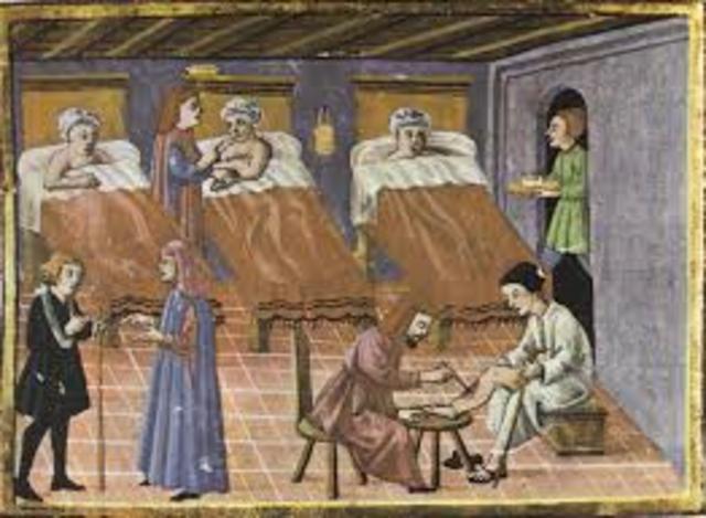 En el siglo XII surgen los primeros centros de asistencia como hospitales, asilos y orfanatos