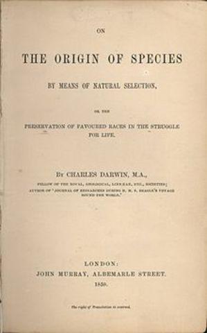 Publicación del Origen de las Especies