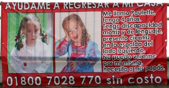 La niña Paulette se Reporta Desaparecida
