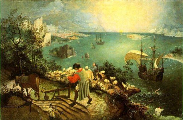 Pieter Brueghel-Maastik Ikkarose kukkumisega