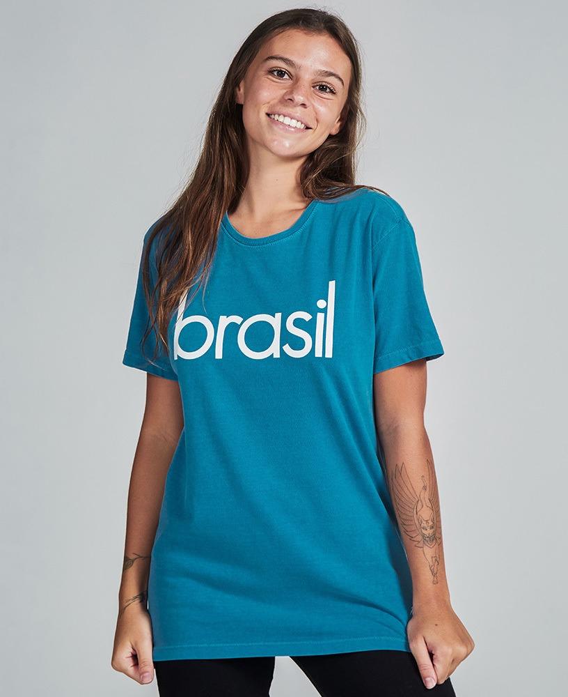 Camiseta Unissex Brasil - Azul e Branco