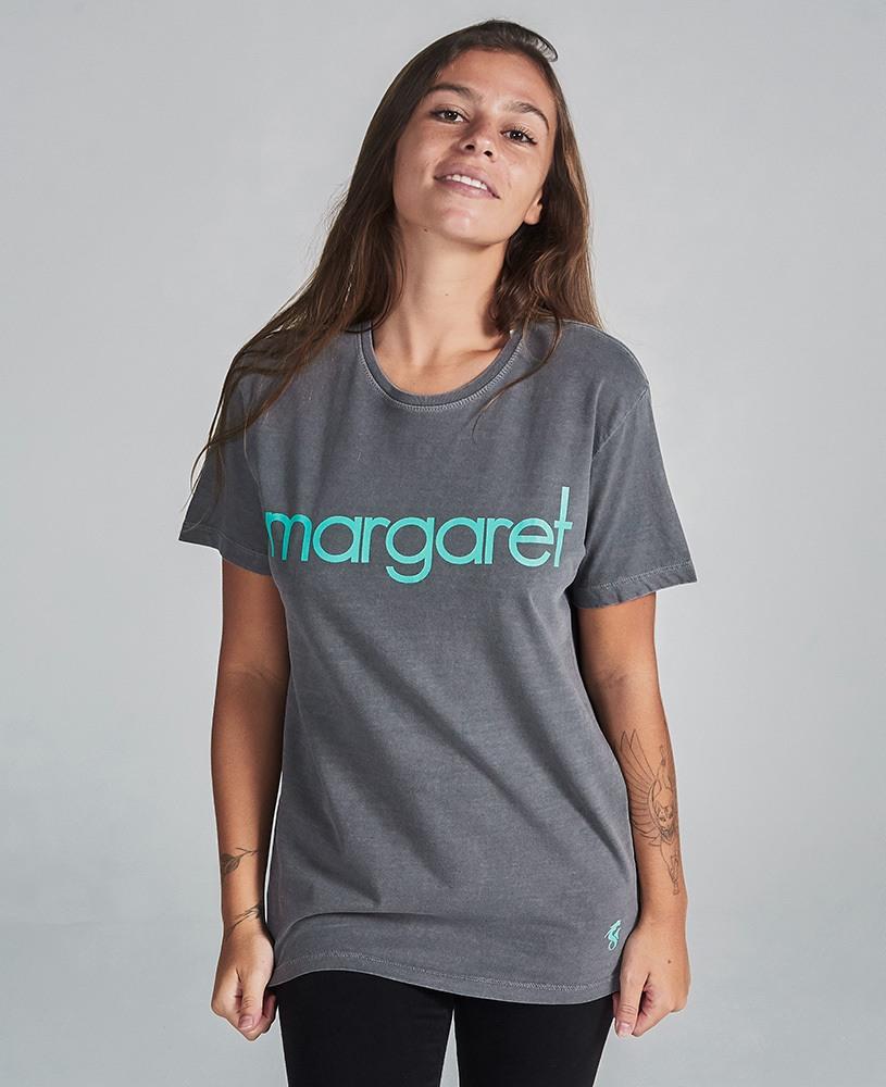 Camiseta Unissex Margaret - Chumbo e Turquesa