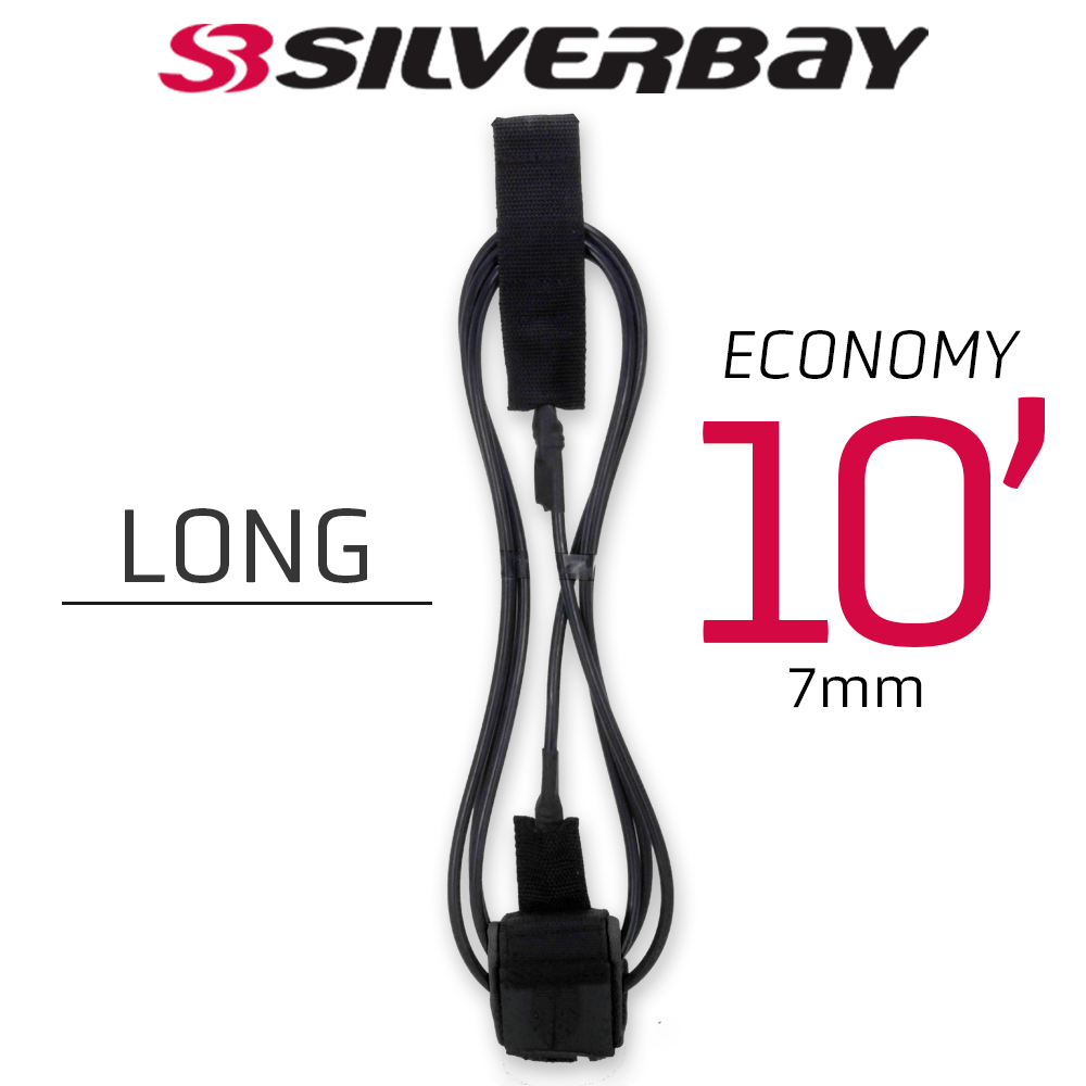 Leash Surf SILVERBAY ECONOMY LONG 10' 7mm - Preto