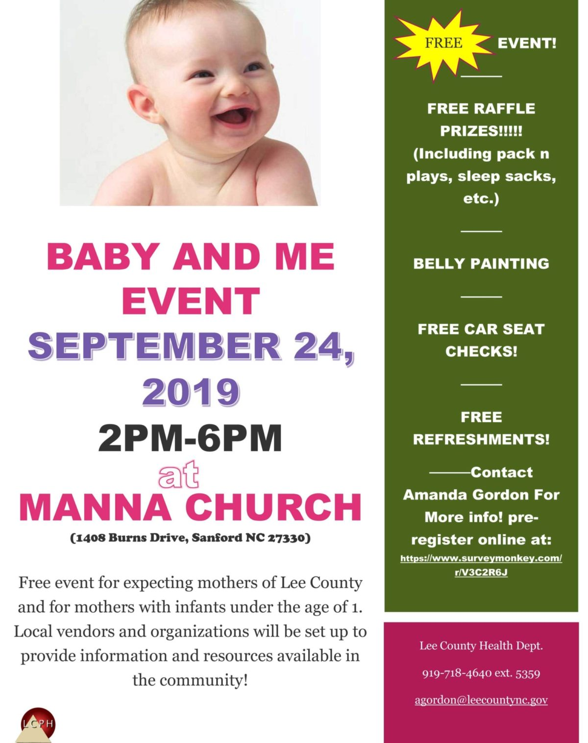 Manna Church Sanford & Lee County Health Department  Baby and Me 2019