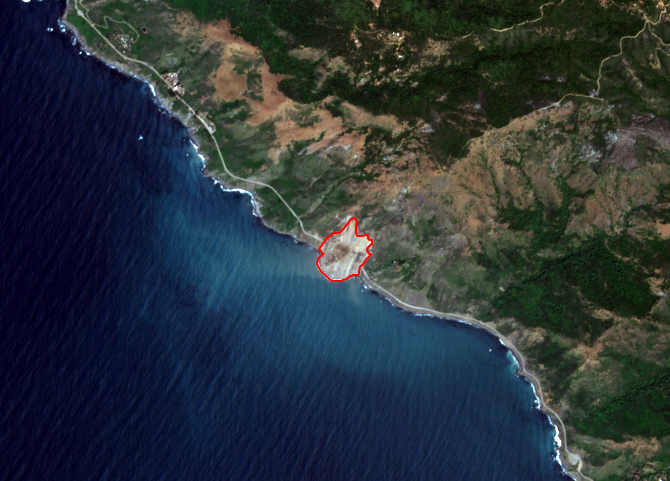 The Big Sur, California landslide after automated change detection analysis of before and after images.