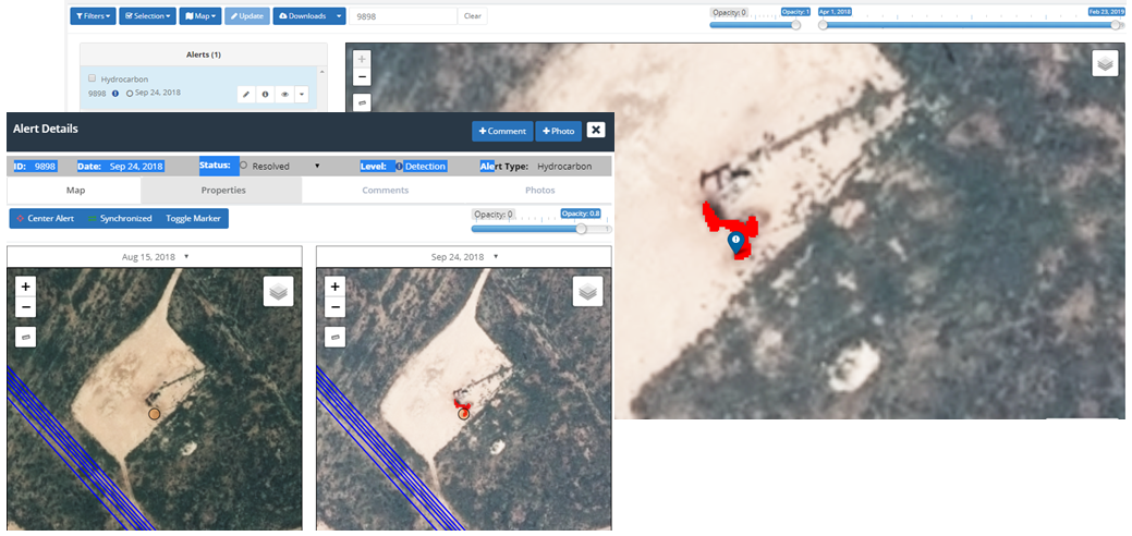Example of Satelytics hydrocarbon leak detection capabilities in the Permian Basin.