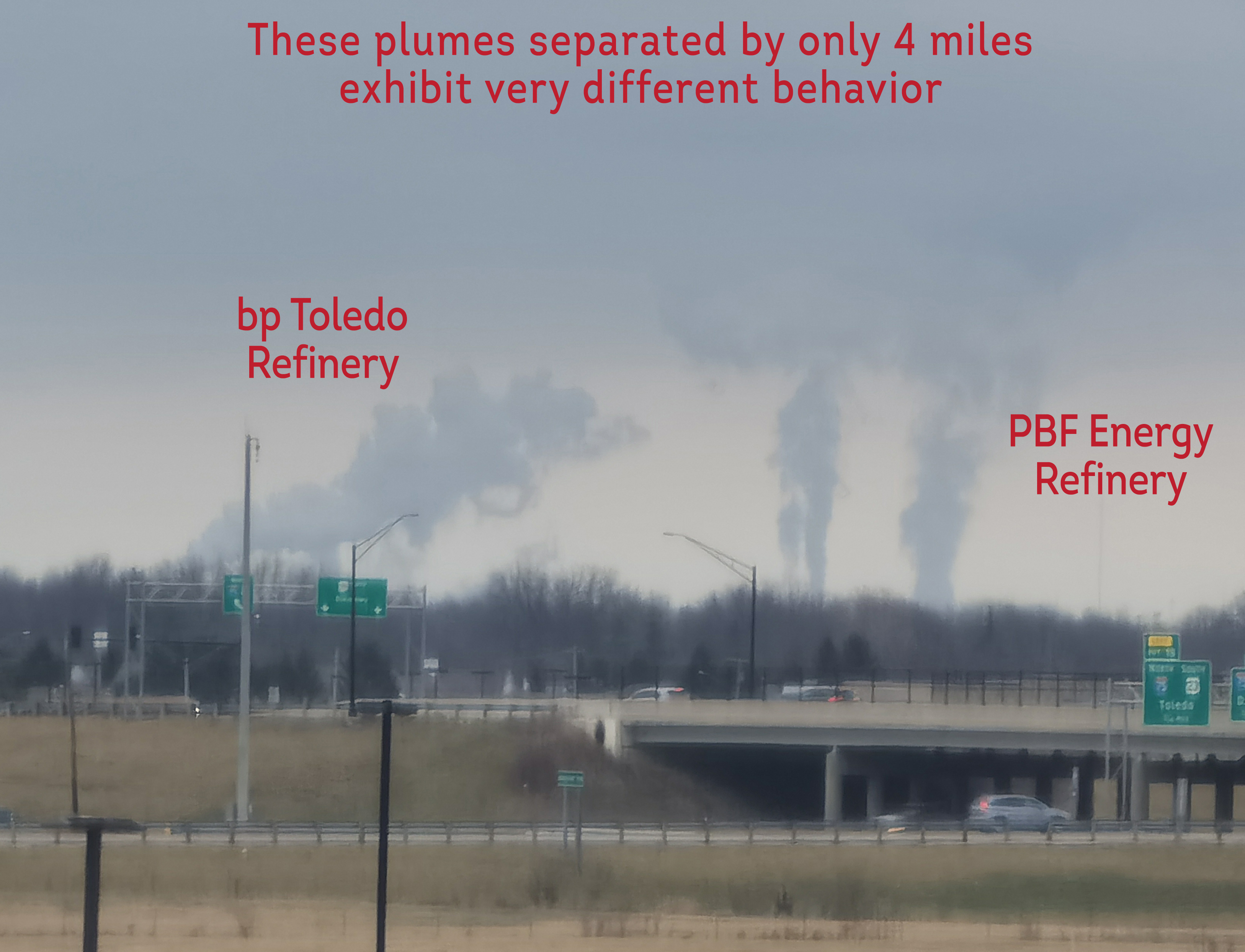 Very local winds affect plume behaviors.