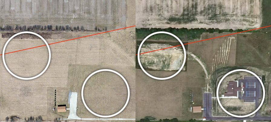 Figure 1. The two images represent a rural area that has experienced man-made changes between 2012 and 2014. Our algorithms automate the change detection. Red indicates pipeline routing.