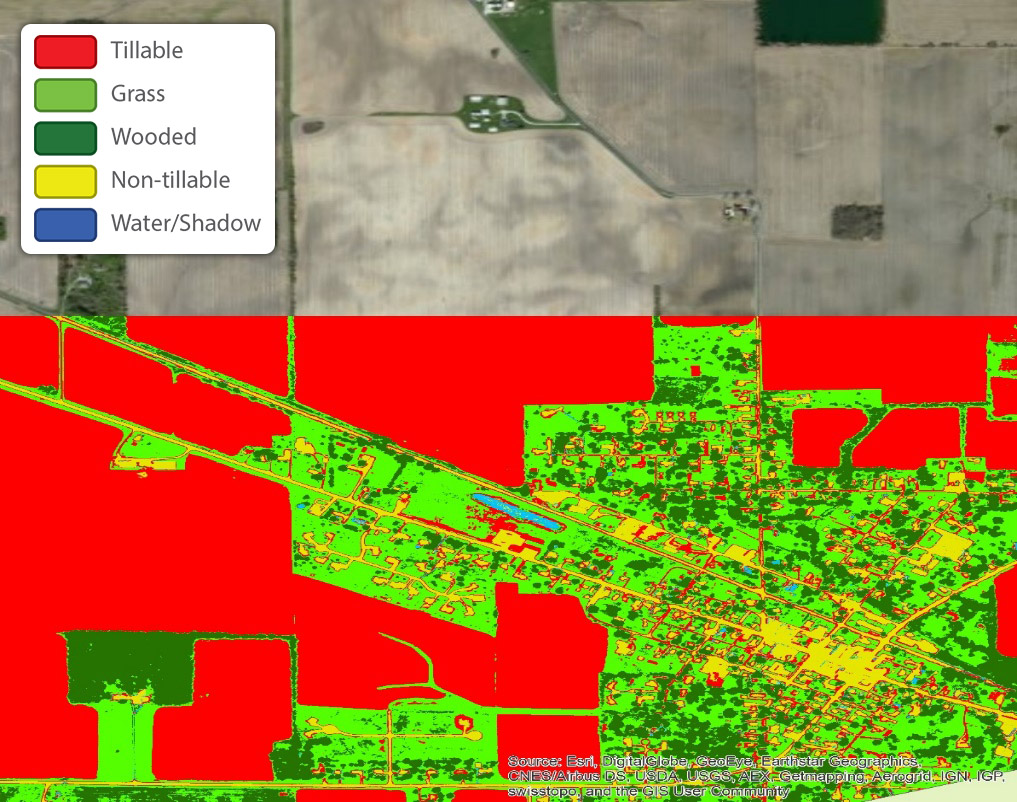 Figure 4. Classifiers are chosen and trained on specific areas of the image. Algorithms quickly classify the whole image, producing accurate high-resolution land use maps. The classified image is displayed here with an ESRI basemap2.