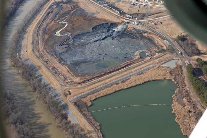 Fly ash disposal site as seen from photography taken by aircraft.