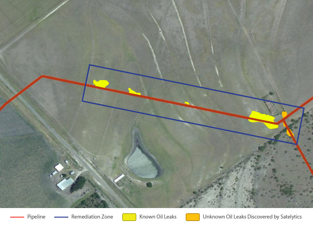 In October 2015, the operator was aware of only four leaks.Red representsthe eight-inch buried transmission line. The leaks the operator was aware of are highlighted inyellow.The blue rectangle represents the multi-million dollarremediation.Two leaks,highlighted in orange,that had gone undetected by visual inspection bythe operator, werediscovered by Satelytics.
