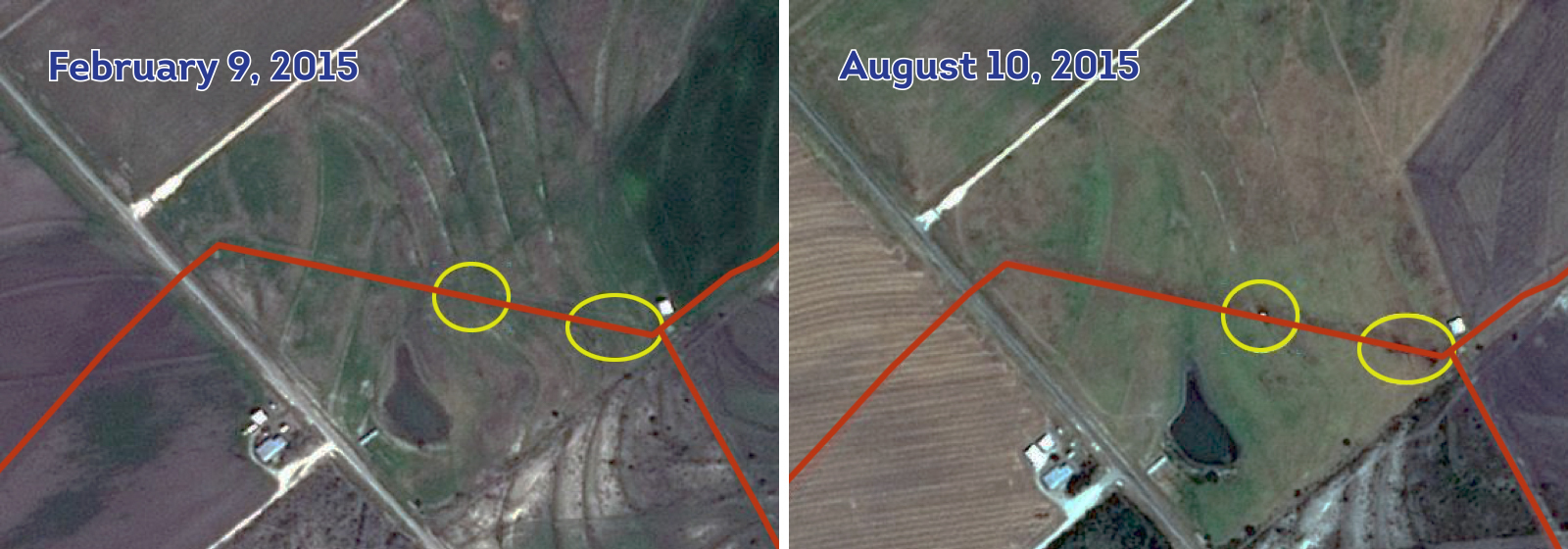 Satelytics applied its techniques to both sets of data and established that there were no leaks in February, but the leaks are clearly visible from satellite imagery captured in August.