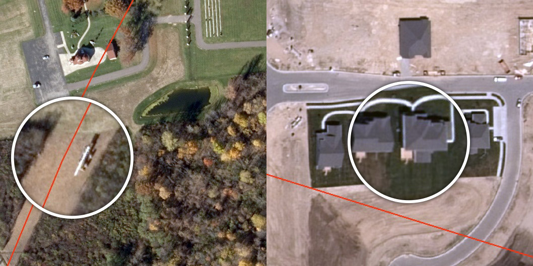 Figure 2. These 2014 images show (on left) a farm vehicle in the encroachment area and (on right) man-made structures beginning to encroach on a pipeline routing. By building an imagery database, encroachments can also be archived and analyzed for patterns representing urban sprawl and population growth. Red indicates pipeline routing.