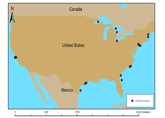 Fig. 1: Locations of all NDBC buoys used for testing the Landsat Temperature Algorithm created by the Satelytics team.