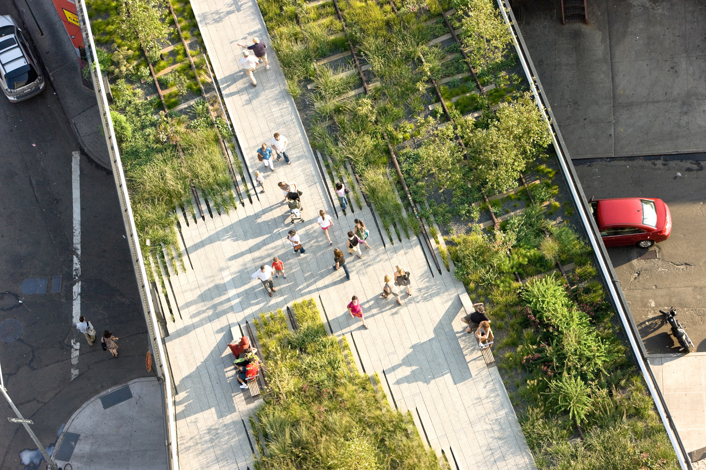 The New York City High Line:a converted elevated rail system now boastingaverdant, green walkway snaking through the harsh urban landscape while also helping to collect and retain storm water.
