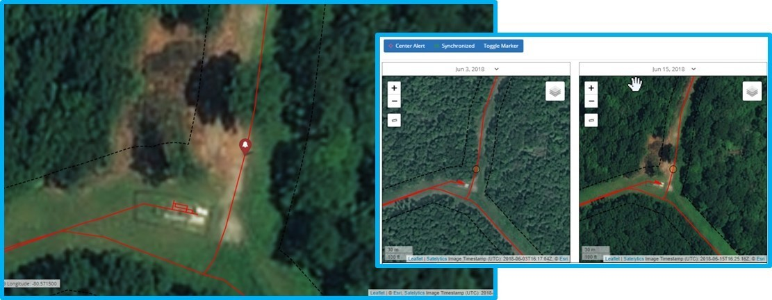 Satelytics identifies areas where land slips have occurred.