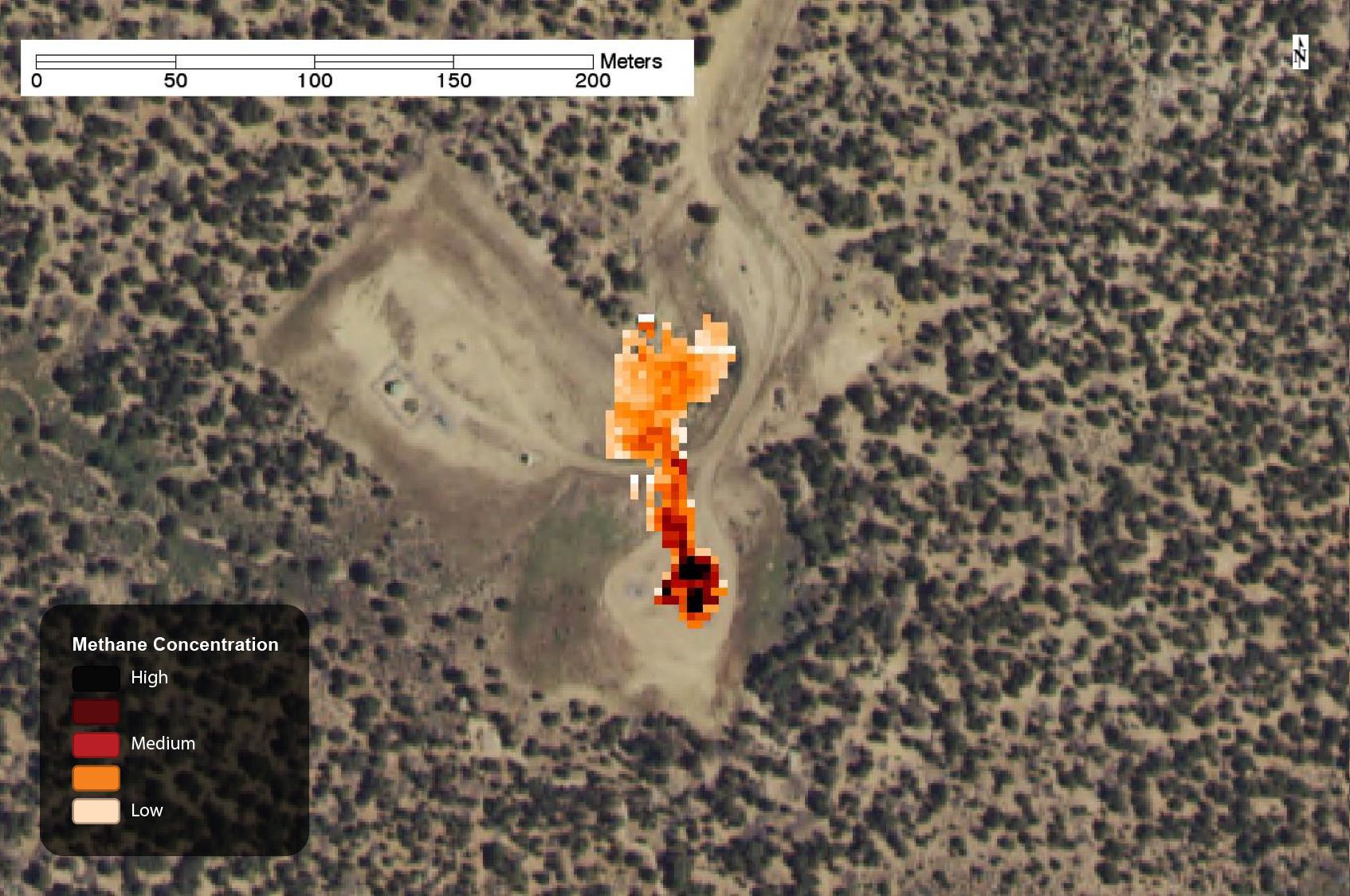 Methane leak on well pad,captured by AVIRISin 2015.