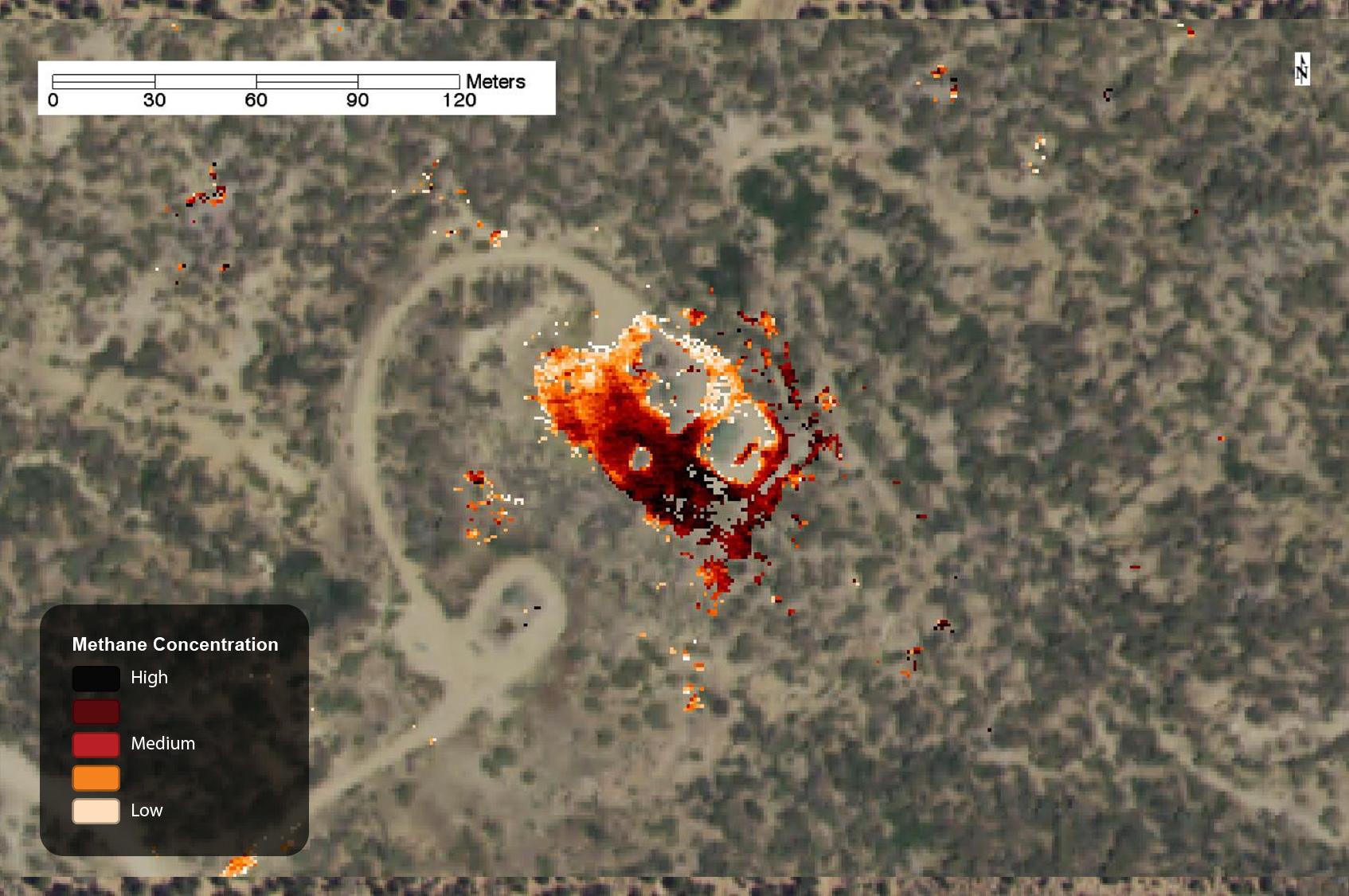 Methane leak on well pad, captured by AVIRISin 2015.