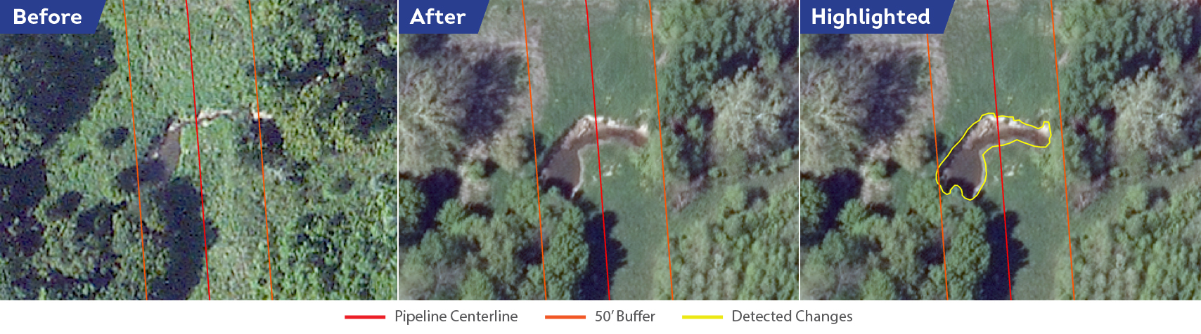Another water crossing where the bank has eroded significantly. Whereas current surveying methods rely on aircraft pilot or field crew judgments, Satelytics allows for a clear side-by-side comparison of the dates.
