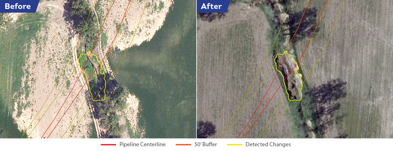 Significant stream bank collapses happen when water flows more quickly through a waterway and erodes the bank in a very short amount of time. These substantial land movements can unearth pipelines, damaging them or exposing them to corrosive elements. These are easily detected by Satelytics and clearly visible in side-by-side imagery.