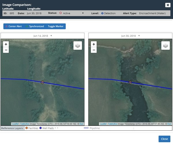 This image shows a pipeline water crossing before and after a wet weather event. When infrastructure is in