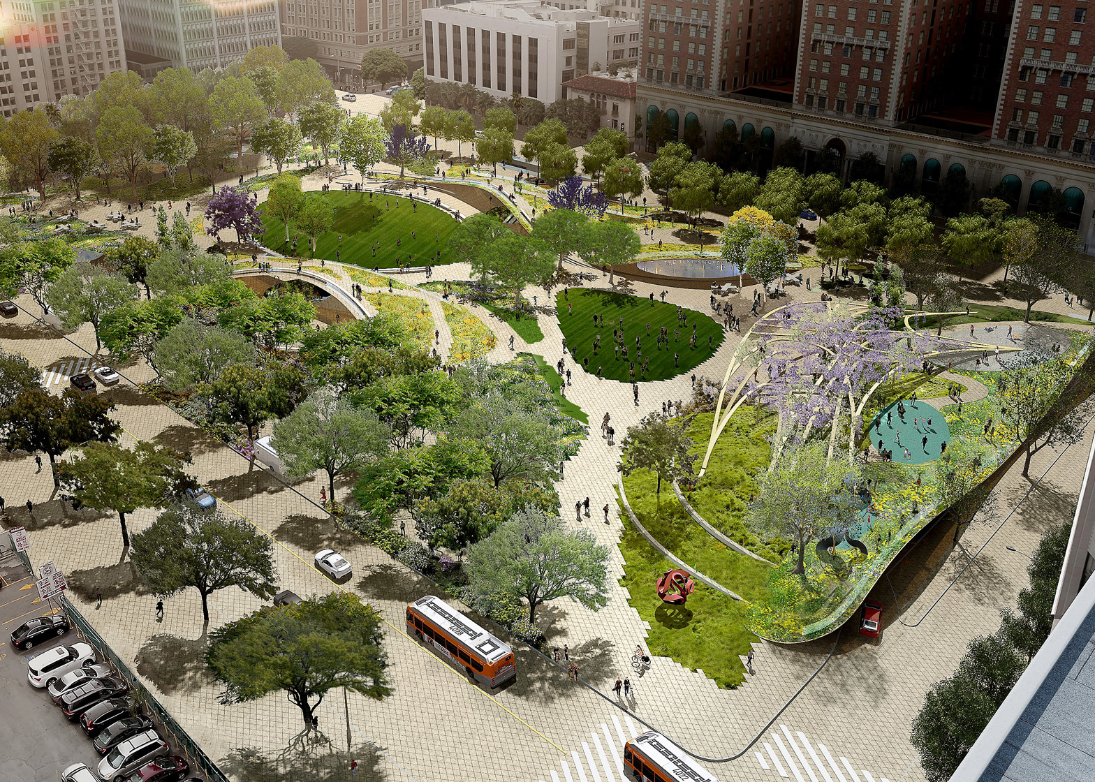 Urban parks have the double benefit of making cities more livable while also reducing the volume of storm water handled bycombined sewer systems.
